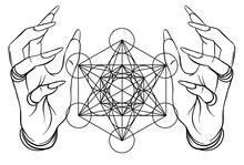 Vintage Style Human Hands With Sacred Geometry Symbols. Dotwork Ink Tattoo Flash Design. Vector Illustration Isolated On White. Astrology, Sacred Mandala, Flower Of Life