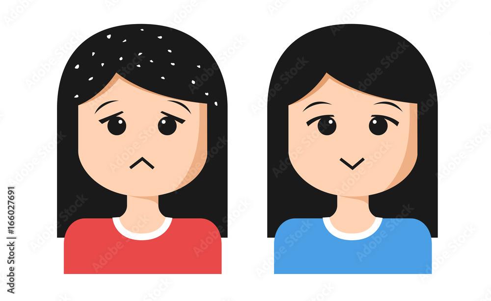 Fototapeta women cartoon with dandruff on hair