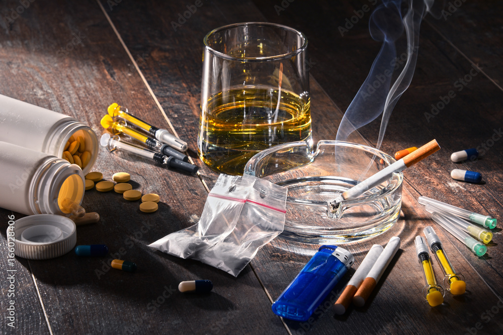 Fototapety, obrazy: Addictive substances, including alcohol, cigarettes and drugs