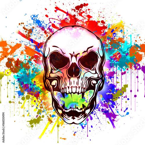 Злой череп векторные иллюстрации на белом