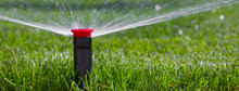 Automatic Irrigation System On The Background Of Green Grass
