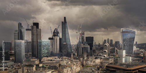 Poster London London city Fincial area view frombtop of St Paul's cathedral