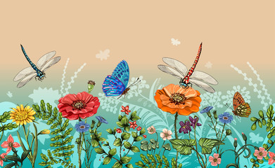 FototapetaVector vertical border with dragonflies, butterflies, flowers, grass and plants. Summer style. Seamless nature border, floral background. Vector horizontal banner with colorful plants
