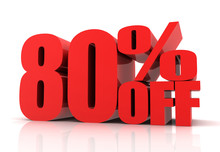 Eighty Percent Off Sale Concept  3d Illustration
