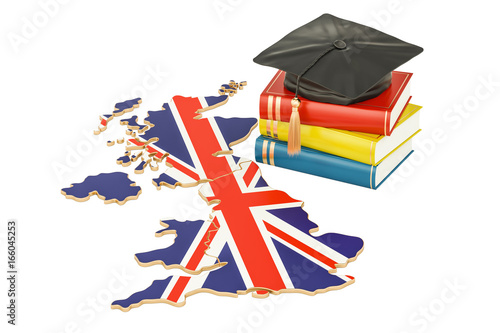 Photo Education in Great Britain concept, 3D rendering