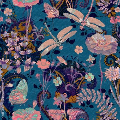 Colorful floral seamless pattern. Plants ornament. Decorative flowers and gra...