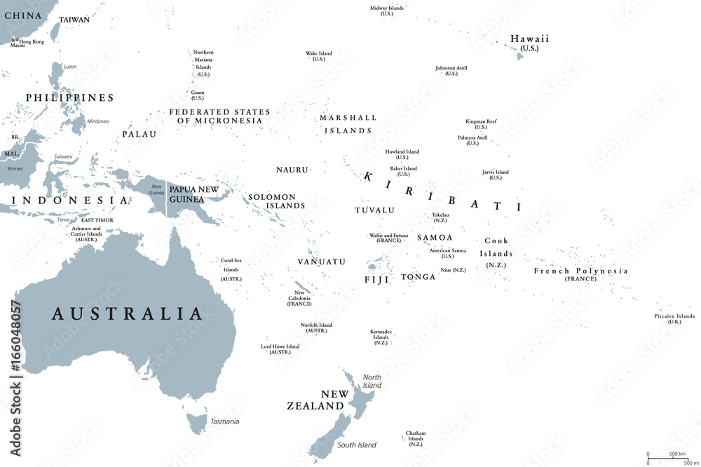 Fototapeta Oceania political map with countries. English labeling. Region, comprising Australia and the Pacific islands with the regions Melanesia, Micronesia and Polynesia. Gray illustration over white. Vector.
