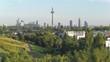 Low drone view of the Frankfurt Skyline, aerial over the German metropolis, 4K video