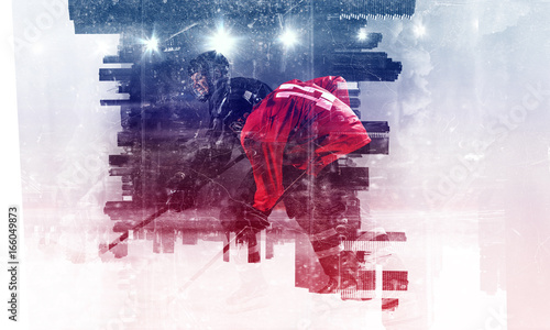 Hockey players on ice. Mixed media Wallpaper Mural