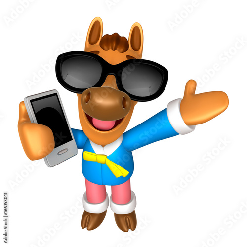 Fototapeta Wear sunglasses 3D Horse mascot the right hand guides and the left hand is holding a Smart Phone. 3D Animal Character Design Series. obraz na płótnie