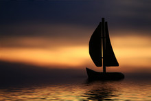 Silhouette Of A Sailboat In Th...