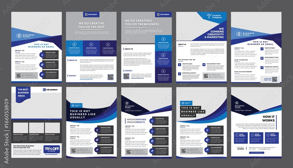 Fototapety, obrazy: a bundle of 10 templates of a4 flyer template, modern template, in blue color, and modern design, perfect for creative professional business