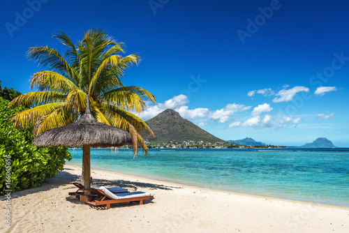 Photo Stands Tropical beach Loungers and umbrella on tropical beach in Mauritius