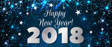Happy New Year 2018 Greeting Horizontal Banner. Festive Illustration With Colorful Confetti, Party Popper And Sparkles. Vector