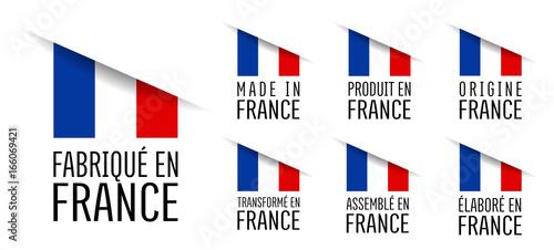 Fototapeta Made in France, fabriqué en France, origine France, élaboré en France, transformé en France, assemblé en France, origine France obraz