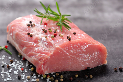 Raw pork loin with spices Canvas-taulu