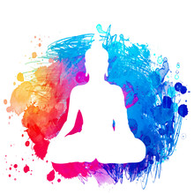 Sitting Buddha Silhouette Over Watercolor Background. Vector Illustration. Vintage Decorative Composition. Indian, Buddhism, Spiritual Motifs.