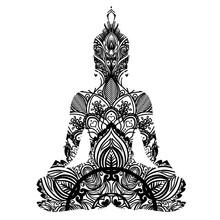 Sitting Buddha Silhouette. Vin...