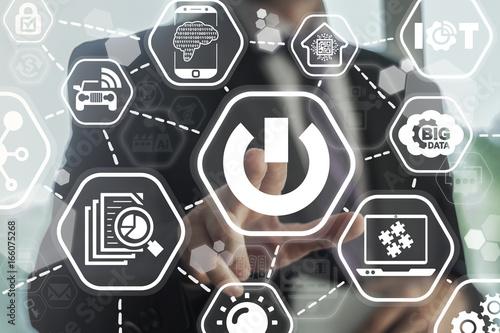 Power Button Information Technology Smart City concept  Man presses