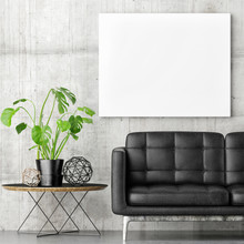 Poster With Black Sofa And Gre...