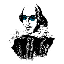 Spoof Vector Drawing Of The Bard With CyanBlack-Tinted Glasses