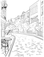 Fototapeta A walk through the city center of Paris, famous district of Montmartre, the view from the stairs. Sketch, hand drawn vector image.