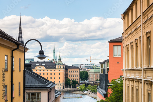 Photo  View over Riddarholmen from Södermalm) in Stockholm, Sweden