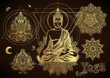 Yoga, Meditation Vector Illustration Set. Hindu Paisley Motifs. Buddha, Spirituality, Prints, Ornamental Floral Elements With Henna Drawing, Golden Stickers, Flash Temporary Tattoo.