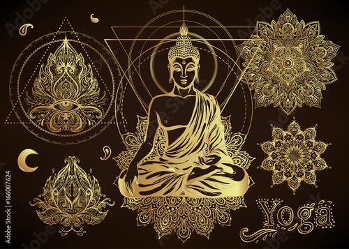 Cuadros en Lienzo Yoga, meditation vector illustration set