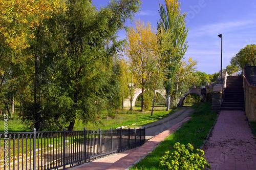 La ciudad de Zamora con el puente de piedra sobre el río Duero