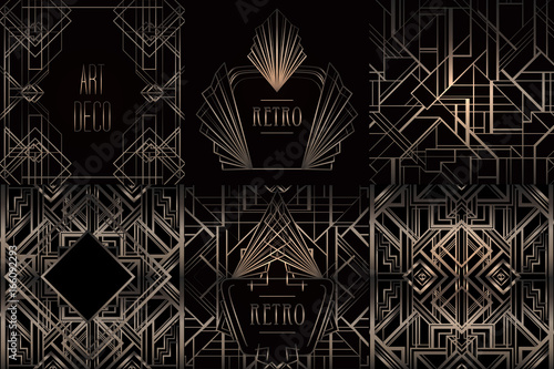 Art Deco vintage patterns and frames. Retro party geometric background set (1920's style). Vector illustration for glamour party