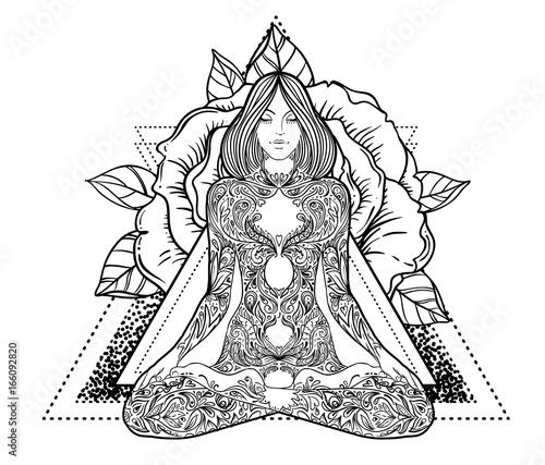 Woman ornate silhouette sitting in lotus pose Wallpaper Mural