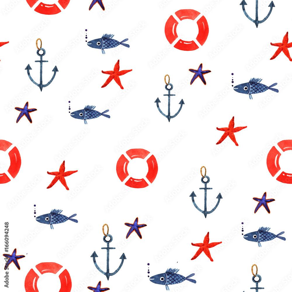 Watercolor illustration of marine seamless pattern