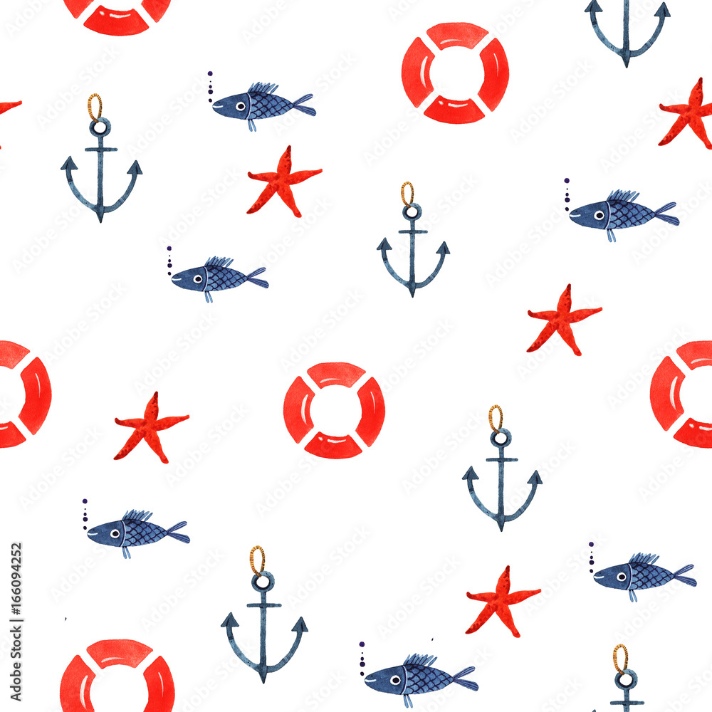 Watercolor illustration of marine seamless pattern