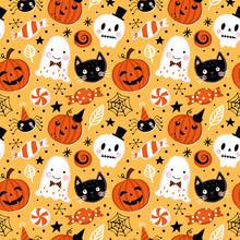 Halloween Holiday Seamless Pattern Background