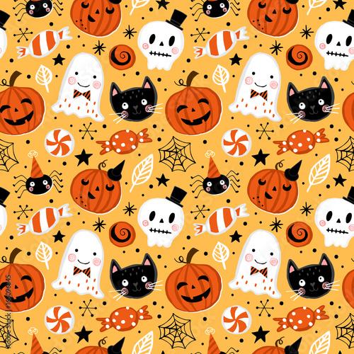 Cotton fabric Halloween holiday seamless pattern background