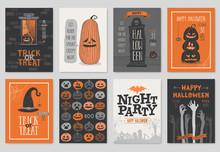 Halloween Hand Drawn Invitation Or Greeting Cards Set.