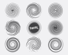 Abstract Swirl Set Dynamic Flow Black White Icon