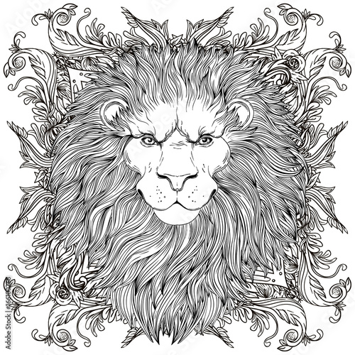 Photo sur Toile Croquis dessinés à la main des animaux Decorative illustration of heraldic Lion Head with royal crown and ribbon. Vector illustration isolated on white. Hand drawn vintage. Line art tattoo template.