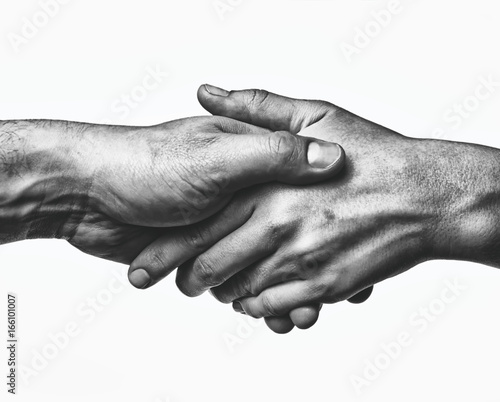 Obraz A firm handshake between the two partners. Black and white image on white  background. - fototapety do salonu
