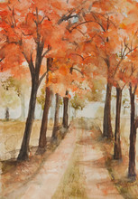 Landscape Of Autumn Tree And Local Road, Watercolor Hand Paint In Impressionism Style