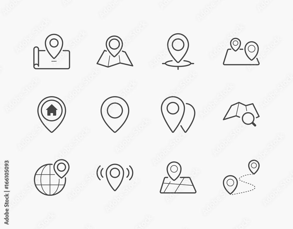 Fototapeta Simple Set of Location Pin Thin Line Icons. Editable Stroke. 64x64 Pixel Perfect.