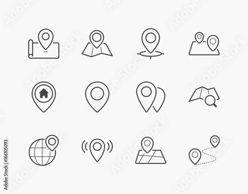 Fotografía  Simple Set of Location Pin Thin Line Icons