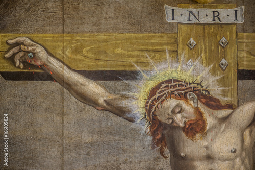 Fotografie, Obraz  The crucifixion, Jesus on the cross with a crown of thorns and the heading INRI,