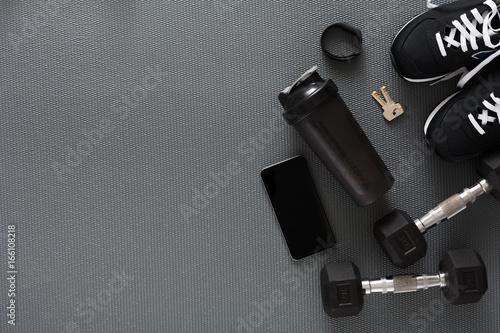 Fototapeta Fitness background, sport equipment, copy space obraz na płótnie