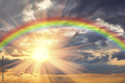 Rainbow in the beautiful sky