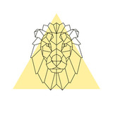 Lion head. Geometric style. Vector illustration. - 166108870