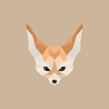 Fennec Fox Polygonal Style. Vector Illustration.