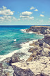 """Southernmost point of the Island """"Isla Mujeres"""" in Mexico / Rocky coastline of south end """"Punta Sur"""" of the mexican Island """"Isla Mujeres"""" next to Cancun"""
