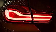 Red Rear Light On A Modern Car...